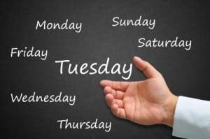 giorni della settimana in inglese