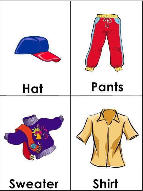 flashcards abbigliamento