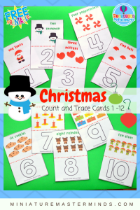 Christmas-Count-And-Trace-Cards-1-12-Preschool-and-Toddler-Counting-2