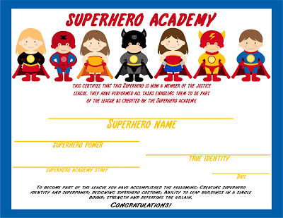 superhero certificate copy