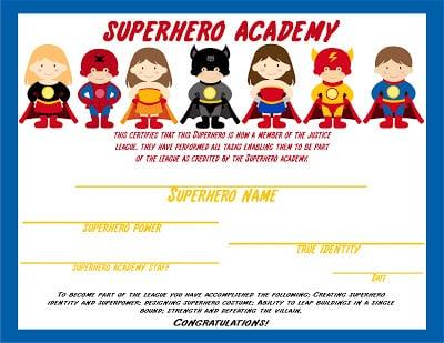 superhero certificate copy