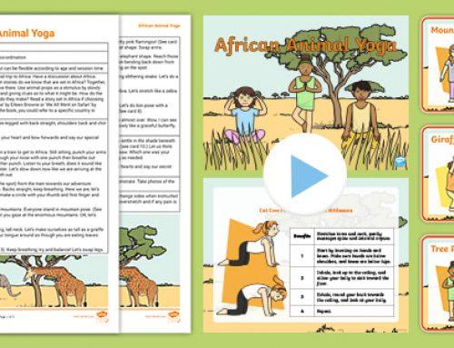 Giochiamo allo yoga in inglese con le schede degli animali africani